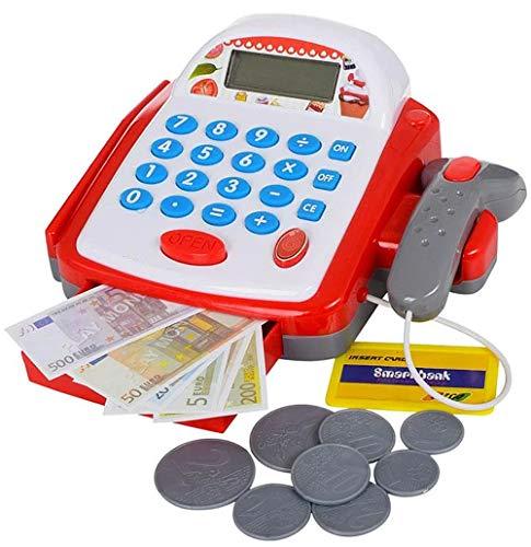 Brigamo Caja registradora de juguete eléctrica con calculadora, escáner y dinero de juguete.