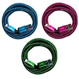 SilicOne 3 x 3 m Premium Nylon USB Cable de carga Cable de datos Set compatible con Phone 12 Pro Max 11 XS XR X 10 8 7 6S 6 Plus 5 SE – azul + verde + rosa