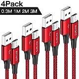 Câble Micro USB [0.3m 1m 2m 3m / Lot de 4], AVIWIS Cable Micro USB en Nylon Tressé...