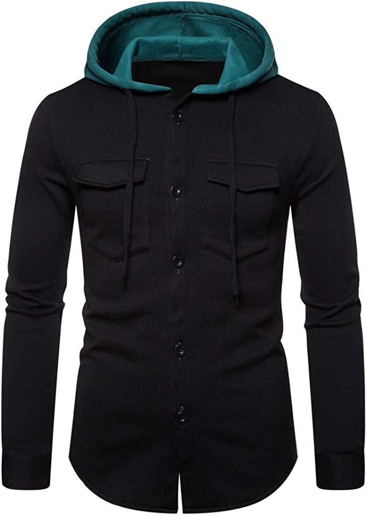 XXBR Button Down Hoodies for Mens, Fall Long Sleeve Hooded Sweatshirts Drawstring Workout Casual Outwear with Pockets