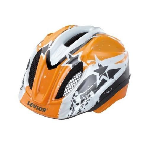 LEVIOR Primo Lizenz Stars Fahrradhelm Helm (Orange Stars / orange, 52-58 / M)