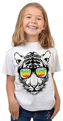 Tiger-Motiv Kindershirt - Kunstdruck Tiger mit Sonnenbrille - buntes Tigershirt für Kinder : Retro Tiger - Tiermotiv Wildkatze Kinder T-Shirt Gr: L = 146-152