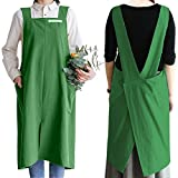 Cotton Kitchen Cooking Apron with Pockets for Women Cute Cross Back Smocks for Painting Baking Cleaning Gardening Navy Blue