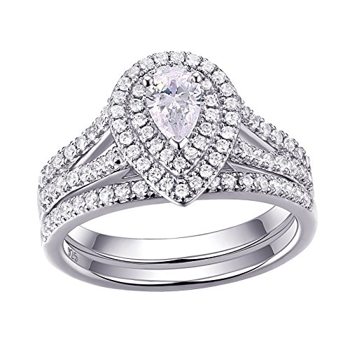 Newshe Bridal Sets 1.3ct Pear Cut White CZ 925 Sterling Silver Wedding Engagement Rings Set 2pc Q