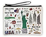 Girls & Women Large Fashion Cute New York Souvenir Zipper pouch Travel Cosmetic Bag Hand Bag Makeup Purse (JP-330133B)