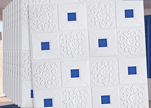 Pelar y pegar azulejos de pared 3D blanco pegar en azulejo Backsplash impermeable subterráneo Azulejos adhesivos paquete de 10 azulejos de pared para cocina y baño