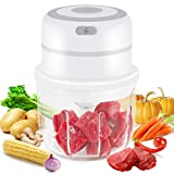 Electric Mini Garlic Chopper, Small Powerful Food Slicer ChopperMasherwith Glass Container,UpgradePortable Garlic Blender Food Processor forChili/Vegetables/Onions/Nuts/Pepper/Ginger/Meat (300ML)