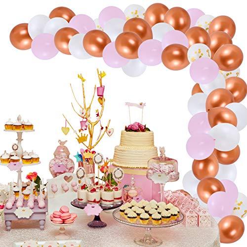 Herefun Kit de Guirnalda de Globos, Kit de Arcos de Globos con Cinta, Herramienta de Atado, Bombas de Globo para Fiesta de Cumpleaños Aniversario Decoración (Oro Rosa)