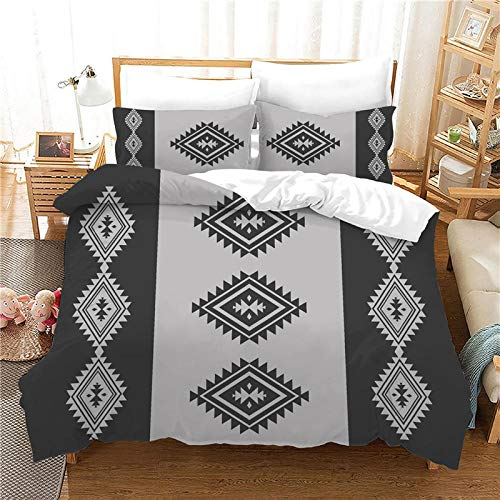 AHKGGM Duvet Cover Set King bed Black and gray indian Bedding Set 3 Piece Ultra Soft Printed Quilt Cover Set - 1 Duvet Cover & 2 Pillow Case Microfiber With zipper Comforter Cover Set