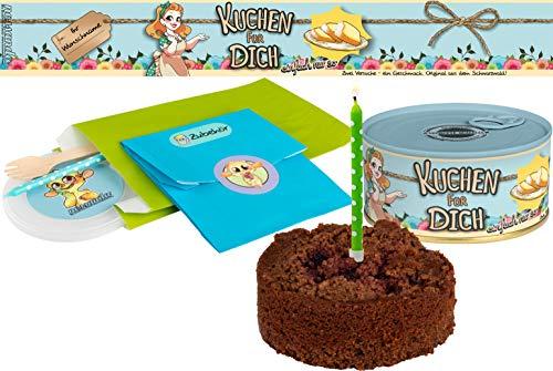 Kuchen für Dich einfach nur so | Kuchen in der Dose | Personalisiert mit Wunsch Namen und Geschmack | Geschenk | Geschenkidee (Schoko-Kirsch, Blau)