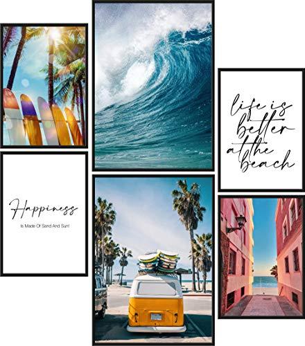 Papierschmiede® Premium Poster Set Surfing | 6 imágenes como elegante Wanddeko | 2x DIN A4 y 4x DIN A5 | Beach Surf Board Palmen