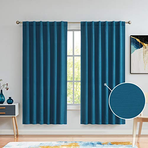 Variegatex Teal Blue Blackout Curtain Panels 72 Inches Long for Bedroom, Linen Embossed Back Tab/Rod Pocket Noise Reducing Window Treatment Drapes for Living Room, 52x72, Set of 2