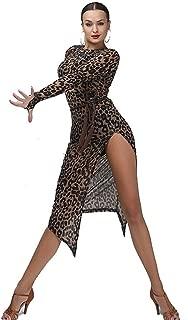 Women Sexy Leopard High Slit Slim-Fitting See-Through Latin Ballroom Waltz Tango Samba Dance Dresses