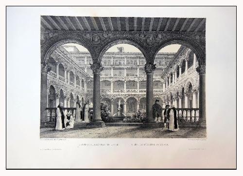 Antigua Litografía Original - Old Original Lithographie : CLAUSTRO DEL MONASTERIO DE LUPIANA