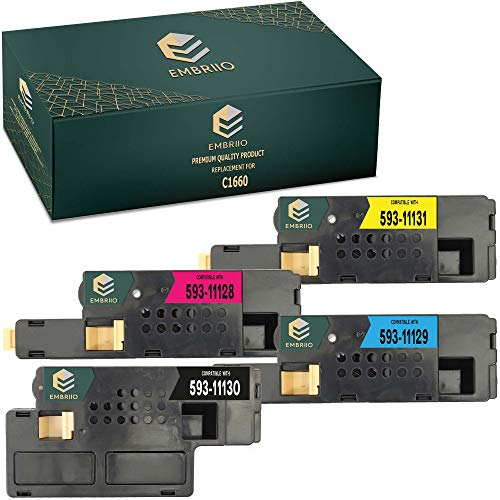 EMBRIIO C1660 Set of 4 Compatible Toner Cartridges Replacement for Dell C1660 C1660w