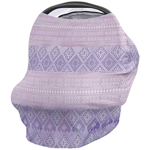 Sale!! Nursing Breastfeeding Cover Car Seat Canopy for Baby Ethnic Geometry Pattern Pink and Purple ...