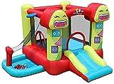 NMDD Smiley Trampoline Enfants s Slide Bouncy Châteaux Aire de Jeux Extérieure Maison Trampoline Jardin Méchant Château Enfants s Cadeaux Couleur 290 * 288 * 183 cm