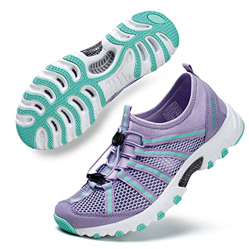 ALEADER Womens Outdoor Breathable Water Hiking Shoes, Wet-Traction Grip Funtional Boating Sneakers Purple 7 B(M) US
