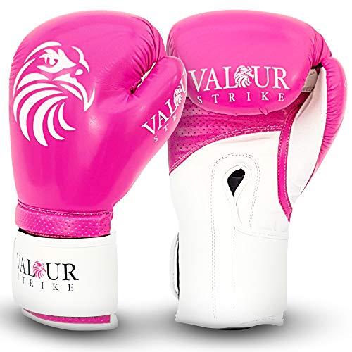 Valour Strike Pink Boxhandschuhe für Damen, Mädchen, Herren und Kinder | Set in Unzen 453,6 g, 397,9 g, 340,2 g, 283,5 g, 227,8 g, 170,1 g oder 113,4 g für Pro Sparring Kickboxen | Pink Paw™ (10 oz)