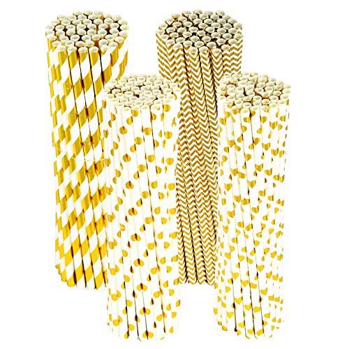 PATAZOK 200pcs Papierstrohhalme Gold Papier Strohhalme Einweg Trinkhalme Biologisch Abbaubare Papierhalme Weiß Halme für Hochzeit Geburtstag Cocktail Party Feier Dekorationen