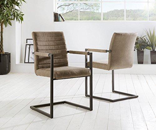 Küchenstuhl Earnest Vintage Freischwinger Design Stuhl (Taupe, Gestell Metall Schwarz)