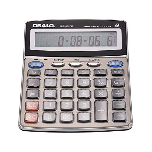 calculadora de escritorio eléctrica,Entweg OS-802CK Calculadora electrónica de escritorio musical multifunción Contador LCD de 12 dígitos con reloj despertador Calendario Funciones de lectura