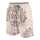 GKGYGZL Pantalones de Playa para Adolescentes,Plata Rococó DaCover Patrón Floral Victoriano Antiguo Barroco Belleza,Ropa de Playa Trajes de baño Shorts de Playa M