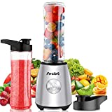 Arcbt Stainless Steel Bullet Blender for Shakes and Smoothies, 400W Personal Portable Smoothie Maker with 2 Tritan BPA-Free 20.3oz Travel Bottles, 2 Spout Drink Lids, Ultra Sharp 4D Blades for Kitchen