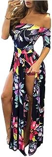 Jojckmen Women Girls Long Flower Dress Off Shoulder Robe Side Split Short Sleeve