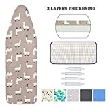 Ironing Board Cover and Pad Standard Size 15' x 54',Elastic Edges and 4 Adjustable Fasteners Make 3 Layer Padded Ironing Board Cover Surface Smoother,1 Large Protective Scorch Mesh Cloth(Grey)