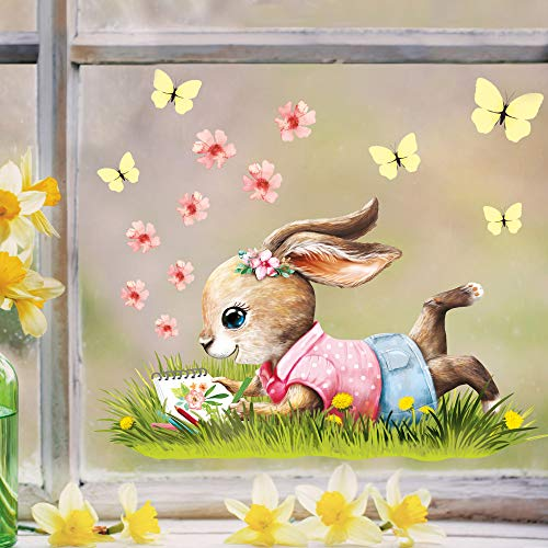 Wandtattoo Loft Fensterbild Frühling Ostern wiederverwendbar Fensteraufkleber Kinderzimmer / 4. Mädchen Hase (13034) / 1. DIN A4 Bogen