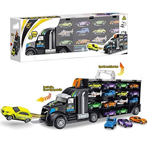 De los niños del coche camión de juguete de almacenamiento caja de la caja de transporte Tipo Maleta transporte del carro del conjunto de juguete 12 vehículos (2 aviones) regalos para niños y niñas
