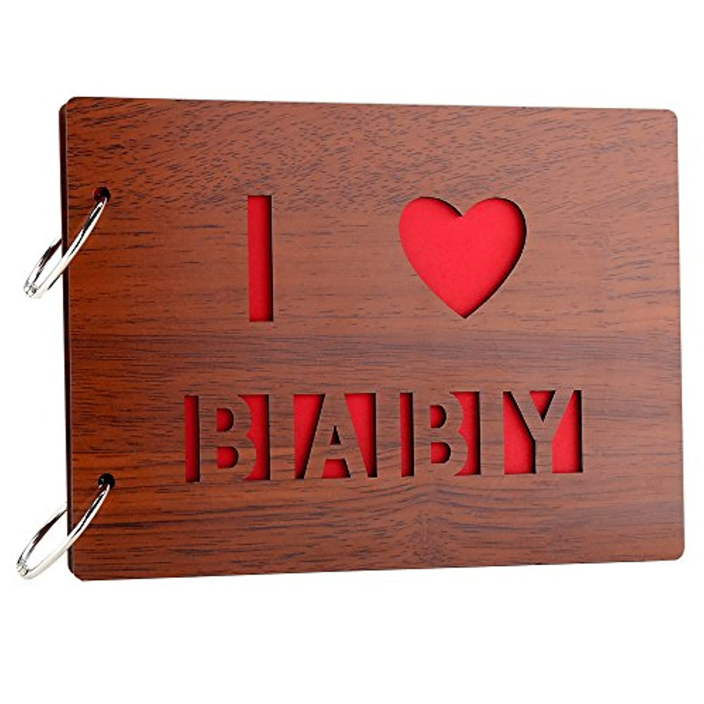 Farway DIY Photo Album Wood Cover Anniversary Scrapbook Album with Black Pages Picture Book for Wedding Baby Shower Family Memory (I Love Baby)