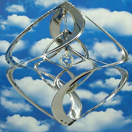 POMMERNTRAUM ® | Edelstahlwindspiel MIT KRISTALL - ROSTFREI | Windspiel Edelstahl | Winddancer | Double-Twister | Gartenstecker | Garten Kunst | 30 cm