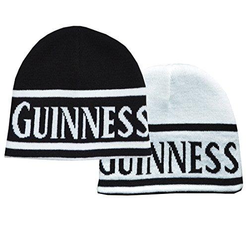 Guinness umkehrbare schwarz/weiß-Strickmütze mit Guinness-Aufschrift