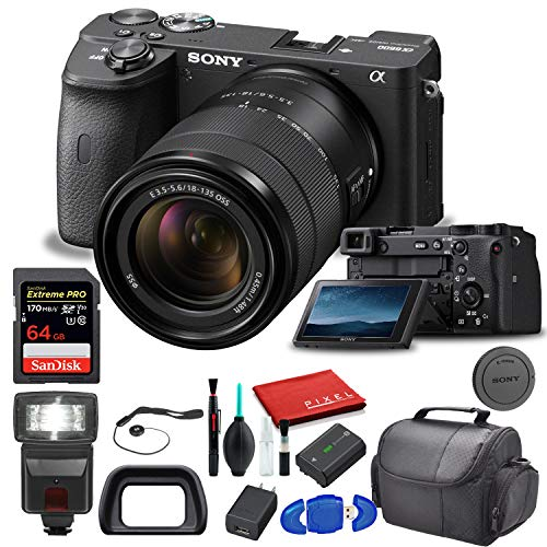Sony Alpha a6600 Mirrorless Digital Camera with 18-135mm Lens (ILCE6600M/B) with Flash, 64GB Memory Card, Padded Bag, and More - Beginner Bundle
