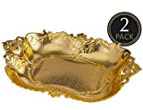 Large Gold Plastic Food Serving Tray - 2 Pack Reusable Decorative Rectangular Appetizer Platter - Elegant Modern Weaved Design for Kitchen, Party, Centerpiece Display - by Impressive Creations