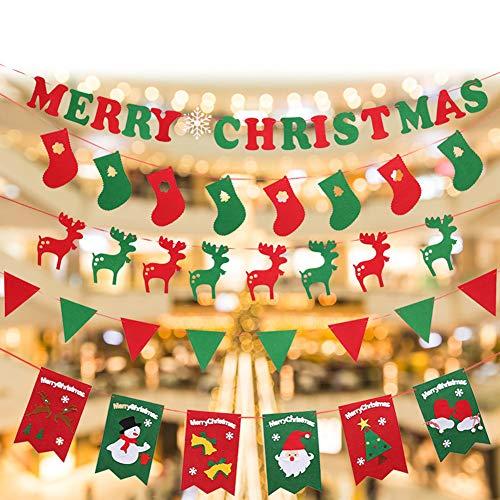 HAOYUMEI Kerstmis Bunting Banner slingers Pennant Vrolijk Kerstmis Brieven Elk Hangende Vlag Kerstfeest Decoraties Opknoping Ornamenten 5 Pack