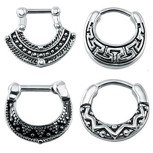 PunkTracker 4Pcs Vintage 316 Stainless Steel Septum Clicker Nose Rings 16g Bar Septum Nose Piercing Jewelry
