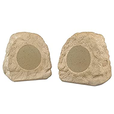Innovative Technology Premium 5-Watt Bluetooth Outdoor Rock Speakers with A/C Adaptor and Built In Rechargeable 5200mAh Battery, Pair, Tan