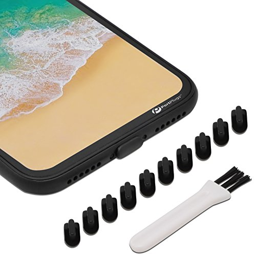 PortPlugs - Anti Dust Plugs - Compatible with iPhone 7, 8 Plus, X, XS, XR (10 Pack) - Port Cleaning Brush Included (Black)