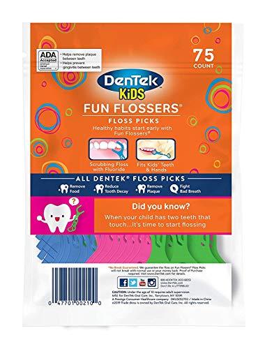 DenTek Kids Fun Flossers, Floss Picks, Mulit, Wild Fruit, 75 Count