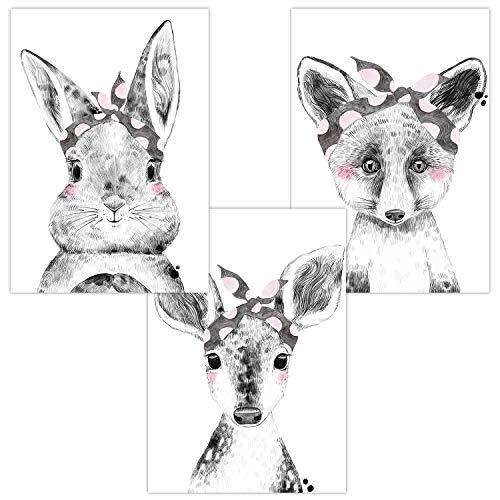 Wandbilder 3er Set für Babyzimmer Deko Poster | Dekoration Kinderzimmer | Kunstdruck DIN A4 für Junge und Mädchen Waldtiere (Hase Reh Fuchs Tuch)
