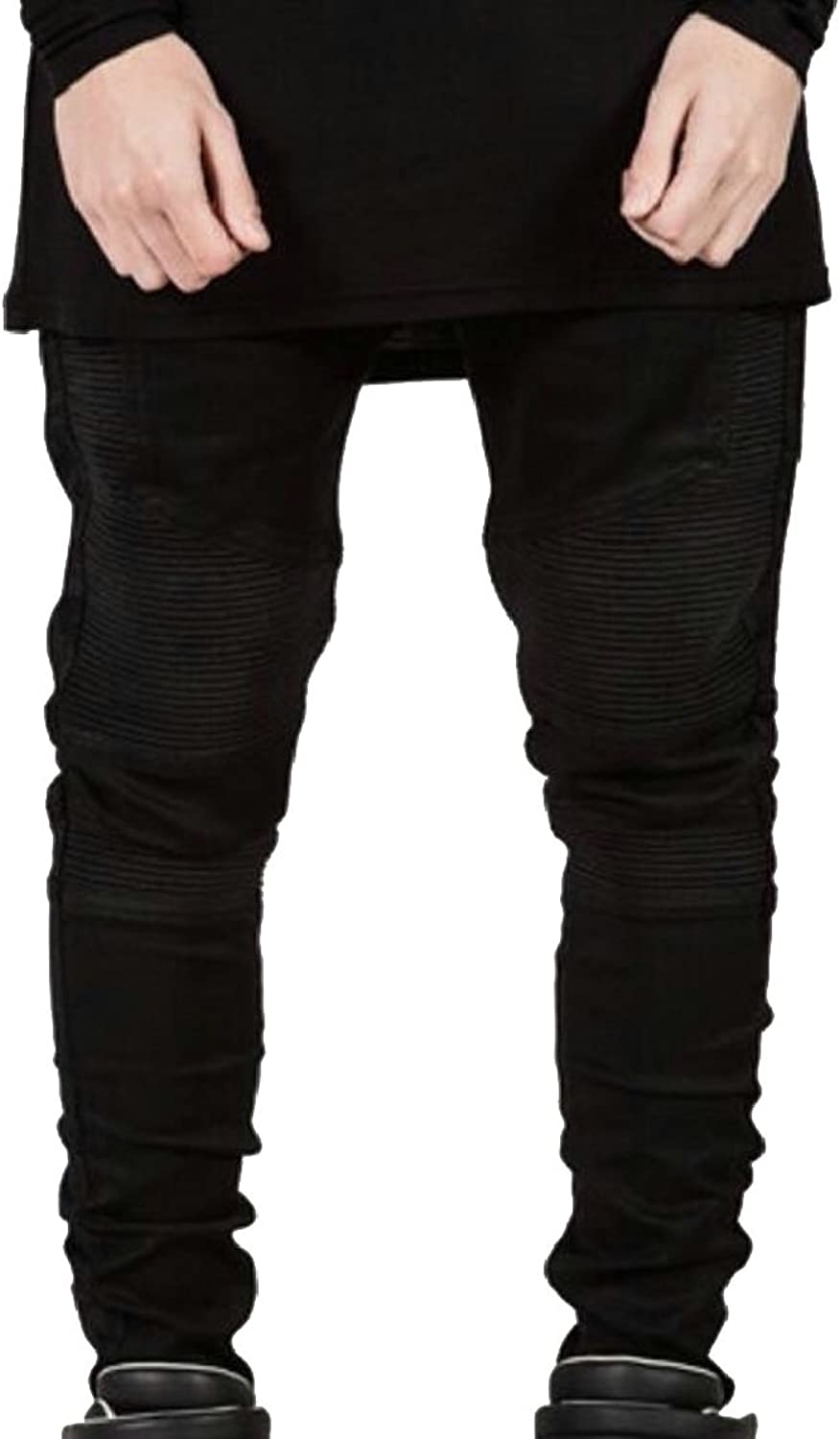 Ouxiuli Men Biker Moto Distressed Destroyed Skinny Fit Jeans