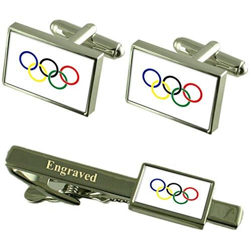 Select Gifts Olympische Bewegung Flagge Manschettenknöpfe gravierte Krawattenklammer passende Box Set