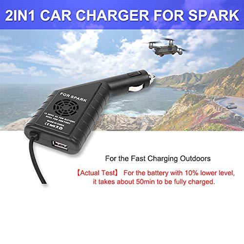 Alikeey Camera Accessoires 2 in 1 USB-batterij, die de aansluiting voor de afstandsbediening van de auto lader voor DJI Spark drone oplaadt