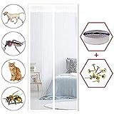 HXPH Insektenschutztür I Fliegengitter Balkontür Terrassentür Schiebetür auch mit Katzenklappe I Magnet Fliegengittertür ohne Bohren Weiß170×240cm(67×94inch)