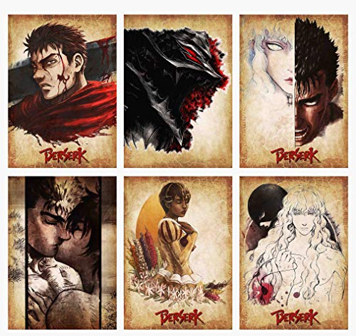 Wall Art Berserk Characters Guts Caska Miria Priscilla Griffith Galatea Anime Wanted Style Poster Prints Set of 6 Size A4 (21cm x 29cm) Unframed GREAT GIFT