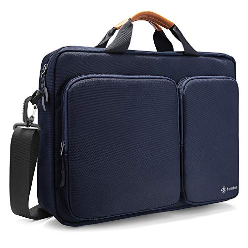 tomtoc Travel Messenger Bag 15.6 Inch with Protective Laptop Compartment Briefcase Shoulder Bag Fit for 13-15 Inch HP Dell Acer Lenovo Asus Samsung Notebook Tablet, Dark Blue