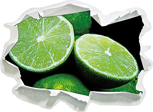 Limes en tranches, Papier 3D Taille Sticker Mural: 62x45 cm décoration Murale 3D Stickers muraux Stickers